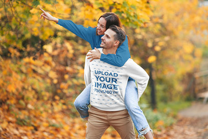 Sweatshirt Mockup Featuring a Man and His Girlfriend in a Park 46337-r-el2