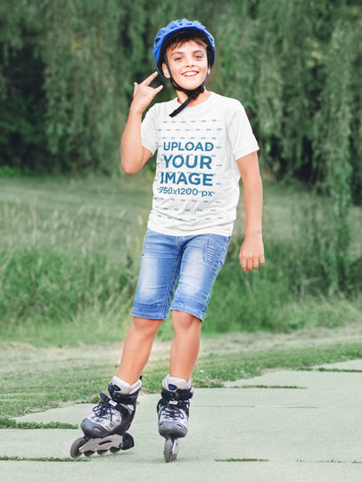 T-Shirt Mockup of a Cool Kid Using Inline Skates 46276-r-el2
