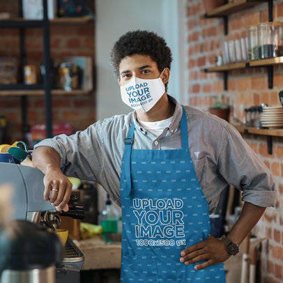 Face Mask Mockup Featuring a Young Barista Wearing an Apron 46449-r-el2