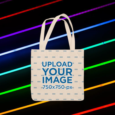 Tote Bag Mockup Featuring a Customizable Background with Neon Lights m1020