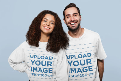 Studio Mockup of a Man Wearing a Tee and a Woman Wearing a Sweatshirt 46108-r-el2