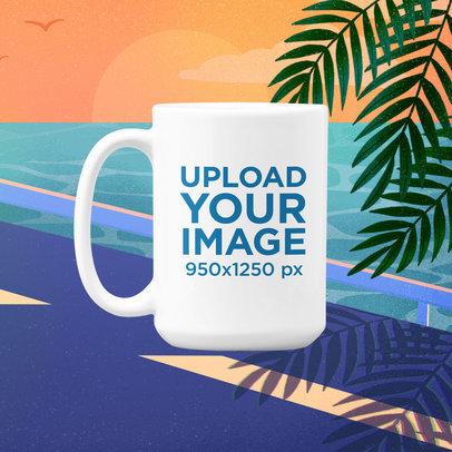 15 Oz Mug Mockup Featuring a Vaporwave-Styled Illustrated Background m1019