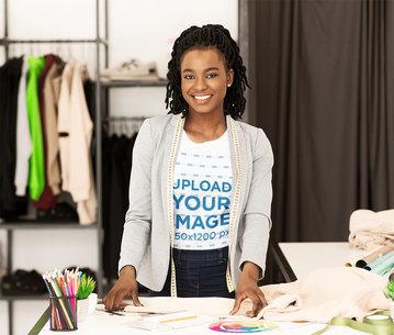 T-Shirt Mockup of a Fashion Designer in Her Workshop 46368-r-el2