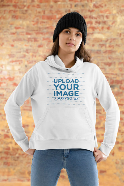 Hoodie Mockup Featuring a Woman and a Brick Wall in the Background 46533-r-el2