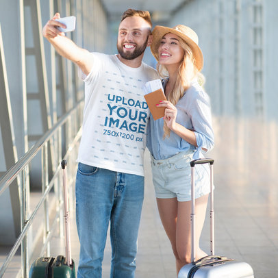 T-Shirt Mockup Featuring a Man Taking a Selfie with His Girlfriend 46345-r-el2