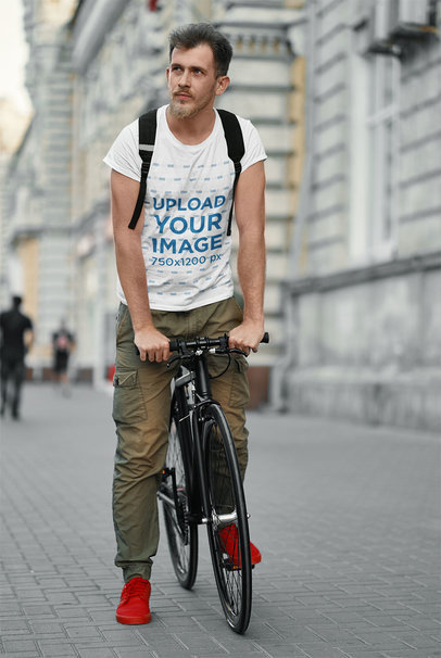 T-Shirt Mockup of a Man Riding His Bike in the City 43148-r-el2