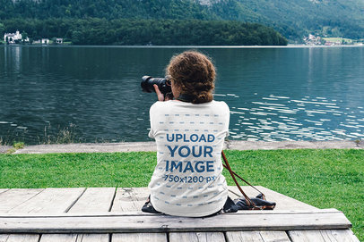 Back-View T-Shirt Mockup of a Woman Taking Pictures by a Lake 46271-r-el2