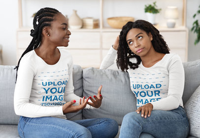 Long Sleeve Tee Mockup of Two Female Friends Talking at Home 46131-r-el2