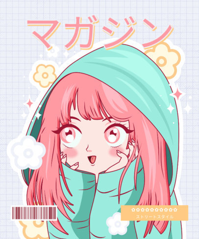 Illustrated T-Shirt Design Maker with a Smiling Anime Character 3304c