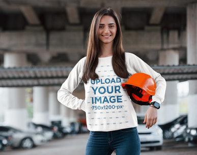 Sweatshirt Mockup of a Woman with a Safety Helmet 46543-r-el2