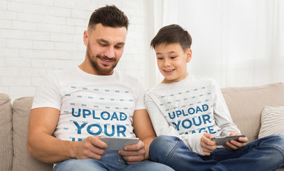 Crew Neck and Long Sleeve T-Shirt Mockup of a Man Chilling with His Son 46094-r-el2