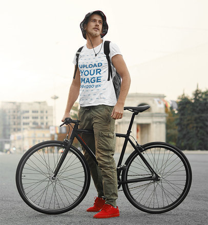 T-Shirt Mockup of a Bearded Man Posing With a Bicycle 43149-r-el2