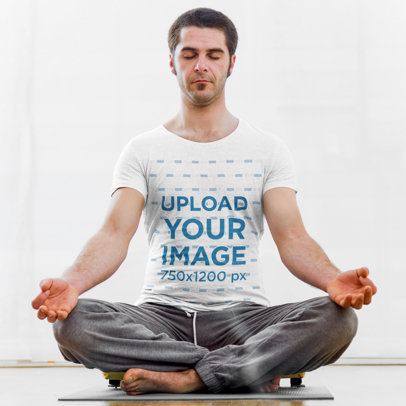 Mockup of a Man in a T-Shirt Doing Yoga with Closed Eyes 46378-r-el2