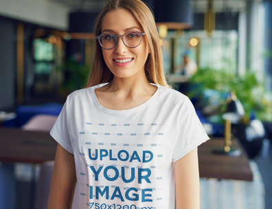 Mockup of a Woman with Glasses Wearing a Loose T-Shirt 46421-r-el2