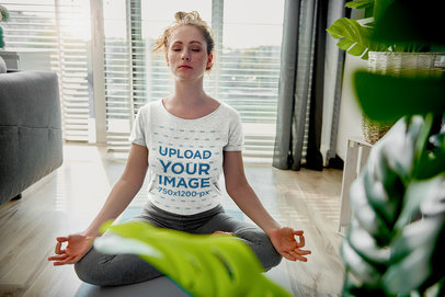 T-Shirt Mockup of a Woman Meditating in Her Apartment 46428-r-el2