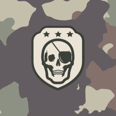 Patreon Profile Picture Design Templat with a Skull Graphic and a Camo Background 3388e-el1