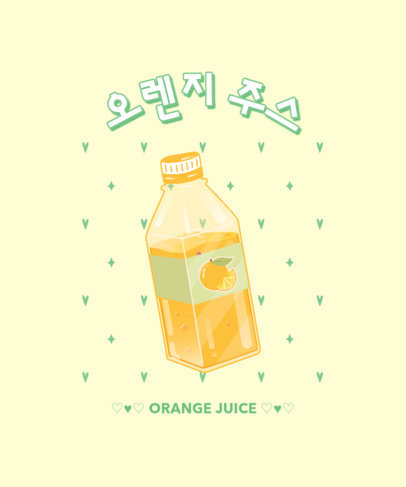 Kawaii T-Shirt Design Maker with an Orange Juice Bottle Graphic 3314a
