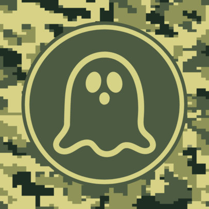 Patreon Profile Picture Creator with a Camouflage Pattern and a Ghost Icon 3384e-el1