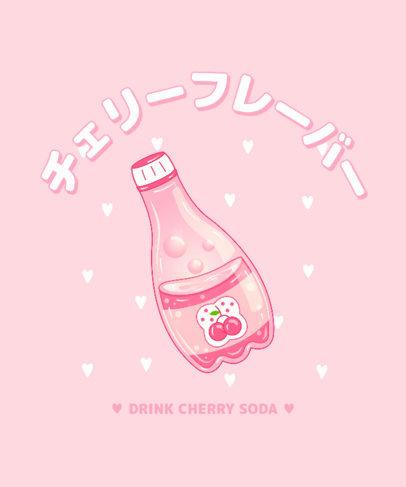 T-Shirt Design Template Featuring a Kawaii Juice Bottle 3314G