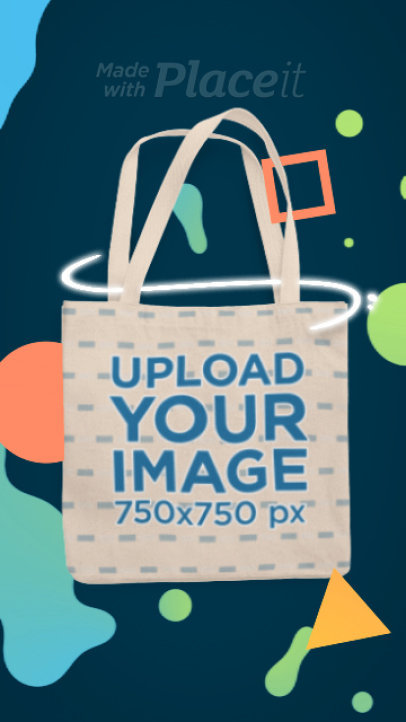 Illustrated Video Featuring a Tote Bag and Animated Colorful Shapes 2602