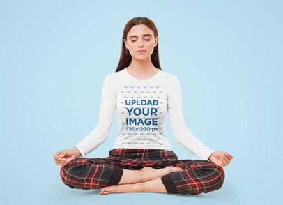 Long Sleeve Tee Mockup of a Woman Meditating in a Studio 46049-r-el2