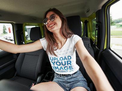 T-Shirt Mockup of a Happy Woman Driving a Brand New Car 46529-r-el2