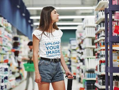 T-Shirt Mockup of a Young Woman at the Supermarket 46525-r-el2
