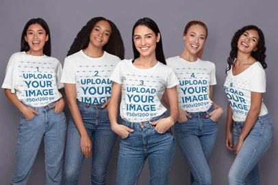 T-Shirt Mockup Featuring Five Women Posing in a Studio 45972-r-el2