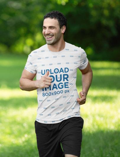 Sublimated T-Shirt Mockup of a Happy Man Jogging 46363-r-el2