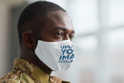 Mockup of the Closeup of a Military Man Wearing a Face Mask 46805-r-el2