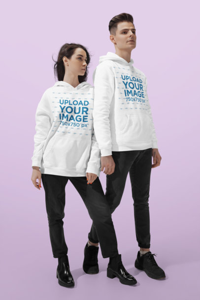 Hoodie Mockup of a Man and a Woman in a Studio 46583-r-el2