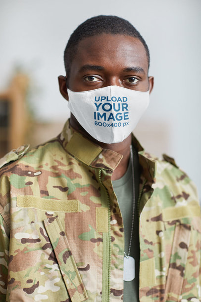 Mockup of a Serious Military Man Wearing a Face Mask 46728-r-el2