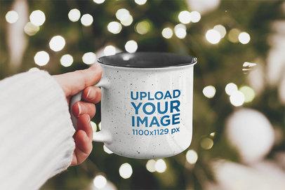 Mockup of a Woman Holding a 12 oz Enamel Mug on Christmas 46886-r-el2