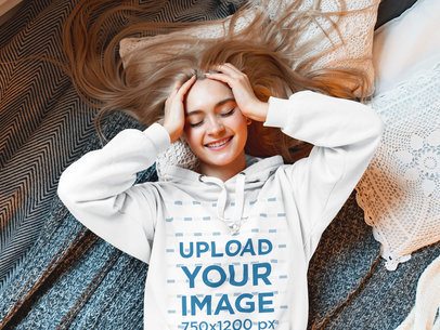 Hoodie Mockup of a Long-Haired Woman Lying Down Comfortably 46843-r-el2