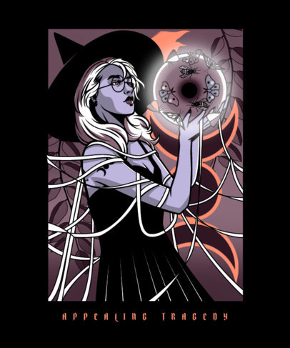 Bewitching T-Shirt Design Template with Arcane Illustrations  4007