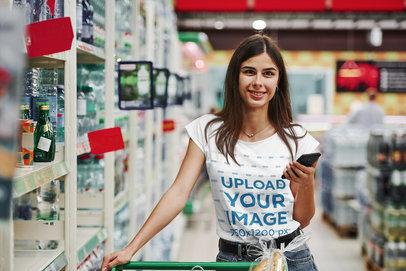 Round-Neck Tee Mockup of a Woman at a Supermarket 46430-r-el2