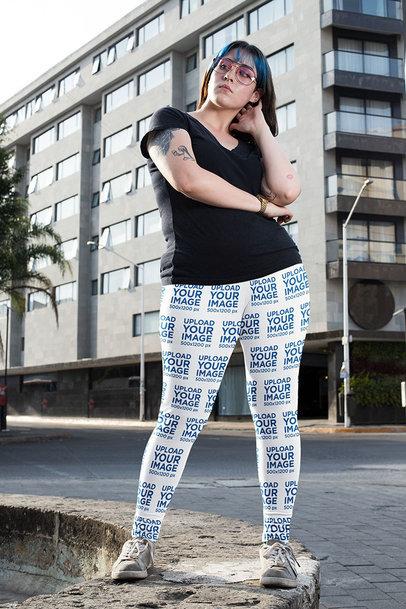 Leggings Mockup Featuring a Tattooed Woman in an Urban Setting 25018a