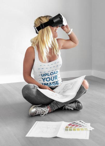 Tank Top Mockup of a Woman Using a Gaming Headset Gadget 46765-r-el2