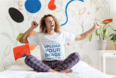 T-Shirt Mockup of a Happy Man Waking Up in His Pajamas 46064-r-el2