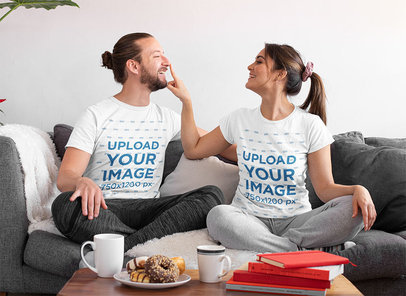 T-Shirt Mockup of a Couple in Their Living Room m1099