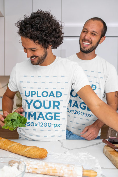 T-Shirt Mockup of Two Men Playfully Cooking m1048