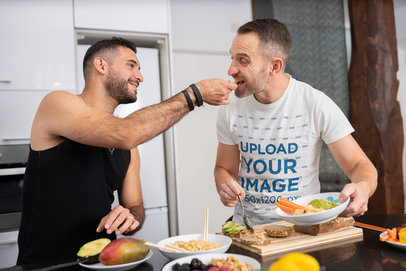 Tank Top and Tee Mockup of a Couple Cooking and Eating Together 46494-r-el2
