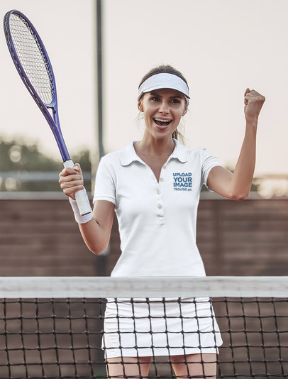 Polo Shirt Mockup of a Woman Playing Tennis on a Court 46576-r-el2