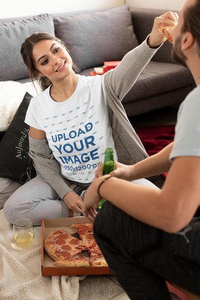 T-Shirt Mockup of a Woman Feeding Her Boyfriend with Pizza m1093
