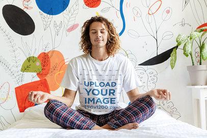 Pajamas Mockup of a Man Wearing a T-Shirt and Doing a Morning Meditation 46070-r-el2