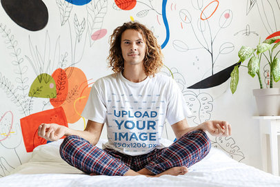 T-Shirt Mockup of a Man in Pajamas Meditating in His Bedroom 46651-r-el2