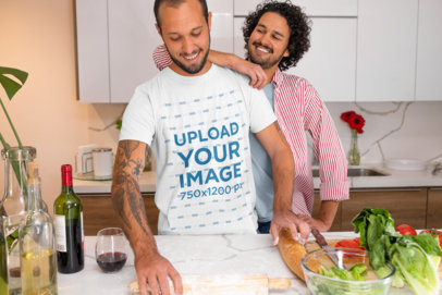 Mockup Featuring a Happy LGBT Couple Cooking m1054