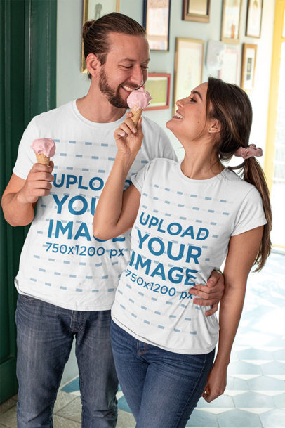 T-Shirt Mockup Featuring a Happy Couple Eating Ice Cream m1117
