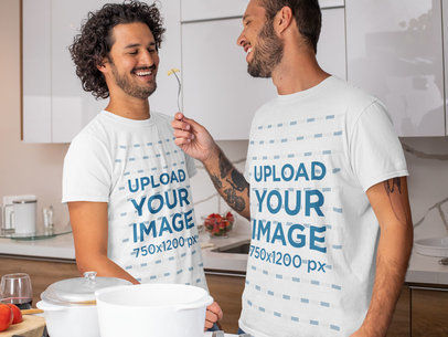 T-Shirt Mockup Featuring a Couple Together in the Kitchen m1058