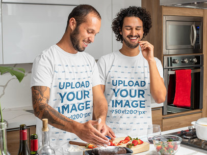T-Shirt Mockup of Curly-Haired Man Baking With His Boyfriend m1063
